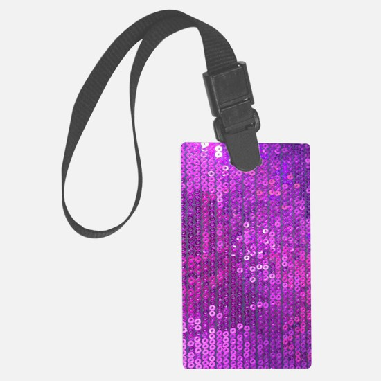 Purple Sequin Pattern Luggage Tag