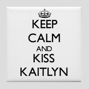 Keep Calm and kiss Kaitlyn Tile Coaster