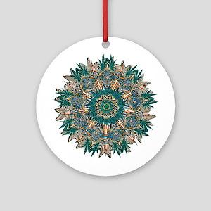 CANNABIS LEAF III TEAL/ORNG Ornament (Round)