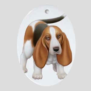 Friendly Basset Hound Dog Oval Ornament