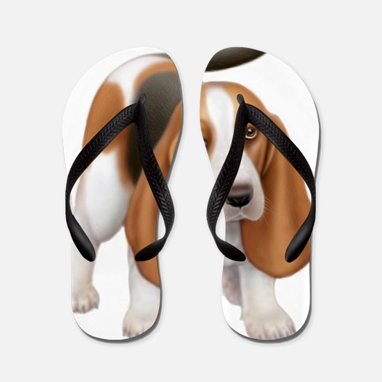 Friendly Basset Hound Dog Flip Flops