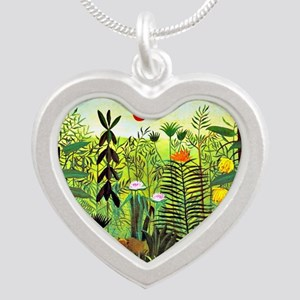 Exotic Landscape with Lion a Silver Heart Necklace