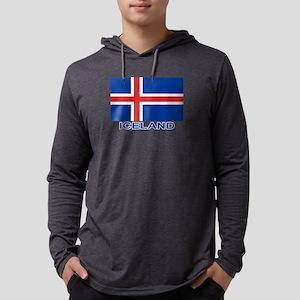 Icelandic Flag (labeled) Long Sleeve T-Shirt
