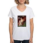 Seated Angel & Boxer Women's V-Neck T-Shirt