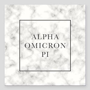 "Alpha Omicron Pi Marble Square Car Magnet 3"" x 3"""