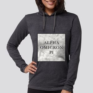 Alpha Omicron Pi Marble Womens Hooded Shirt