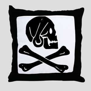Henry Every Jolly Roger:Pirate Flag B Throw Pillow