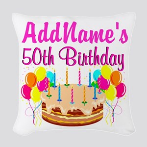AWESOME 50TH Woven Throw Pillow