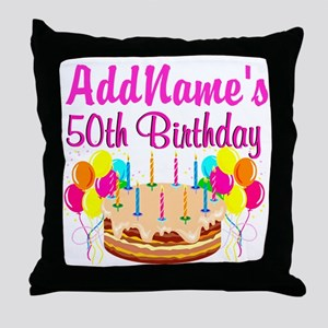 AWESOME 50TH Throw Pillow