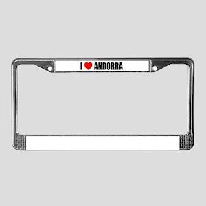 I Love Andorra License Plate Frame