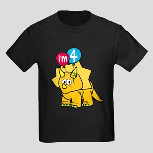 """I'm 4"" Dinosaur Kids Dark T-Shirt"