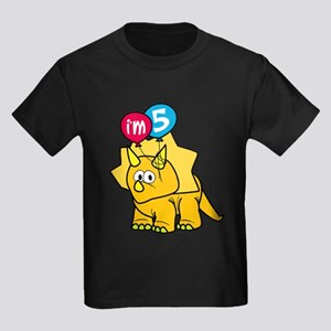 """""""I'm 5"""" Dinosaur Kids Dark T-Shirt"""
