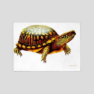 Colorful Eastern Box Turtle 5'x7'Area Rug