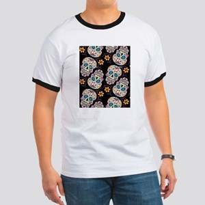 Day of The Dead Sugar Skull  Black Ringer T