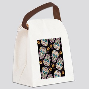 Day of The Dead Sugar Skull  Blac Canvas Lunch Bag