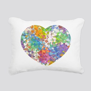 Pastel Confetti Hearts Rectangular Canvas Pillow