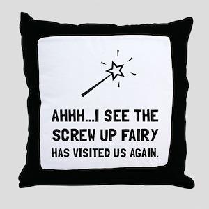 Screw Up Fairy Throw Pillow