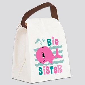 Whale Big Sister Canvas Lunch Bag
