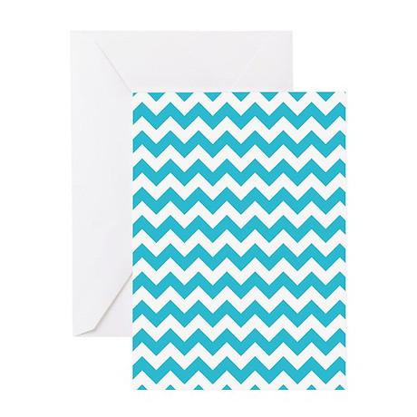 Aqua and White Chevron Pattern Greeting Card
