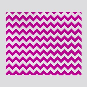 Pink and White Chevron Pattern Throw Blanket