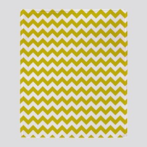 Yellow and White Chevron Pattern Throw Blanket