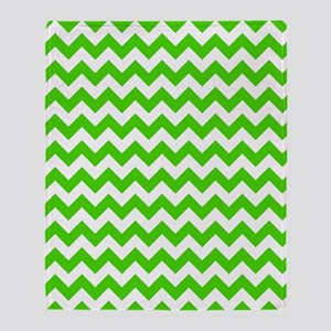 Green and White Chevron Pattern Throw Blanket