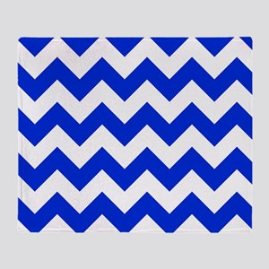 Blue and White Chevron Pattern Throw Blanket