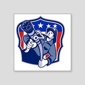 "American Fireman Firefighte Square Sticker 3"" x 3"""