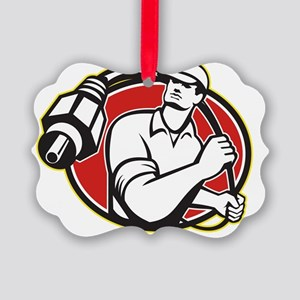 Cable TV Installer Guy Picture Ornament