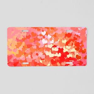 Pink Gold Confetti Hearts Aluminum License Plate