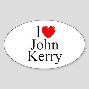 """I Love (Heart) John Kerry"" Oval Sticker"