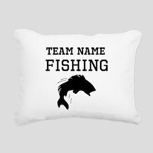 (Team Name) Fishing Rectangular Canvas Pillow