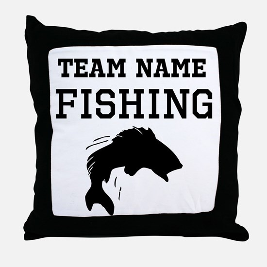 (Team Name) Fishing Throw Pillow