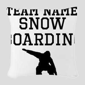 (Team Name) Snowboarding Woven Throw Pillow