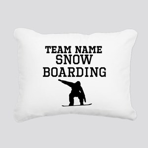 (Team Name) Snowboarding Rectangular Canvas Pillow
