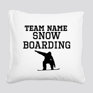 (Team Name) Snowboarding Square Canvas Pillow