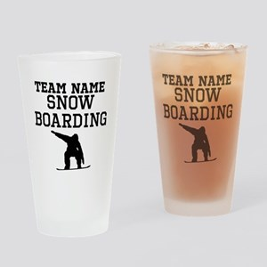 (Team Name) Snowboarding Drinking Glass
