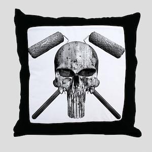 Paint Skull Throw Pillow