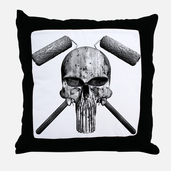 Paint Skull Throw Pillow