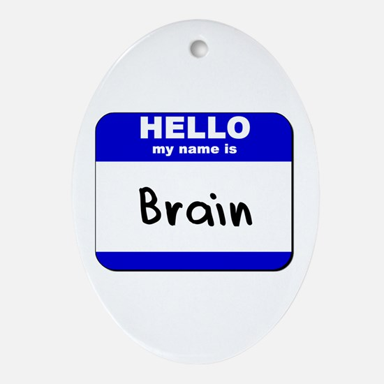 hello my name is brain  Oval Ornament