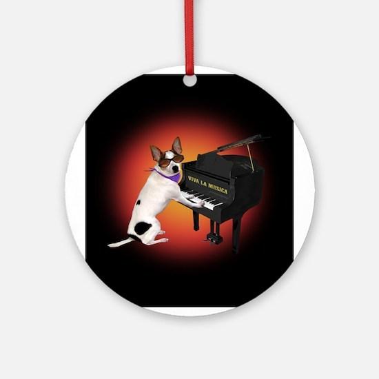 Chihuahua Piano Ornament (Round)