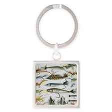 Fly Fishing Square Keychain
