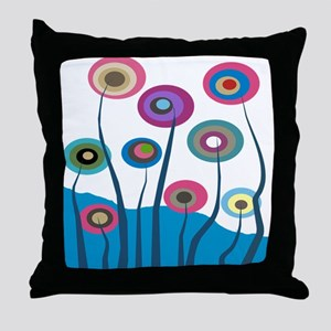 Funky Trees 5 blue Throw Pillow