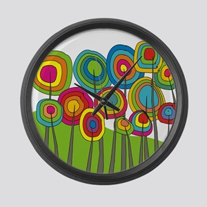 Funky Trees 10 Colorful Large Wall Clock