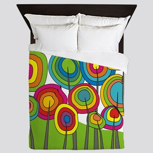 Funky Trees 10 Colorful Queen Duvet