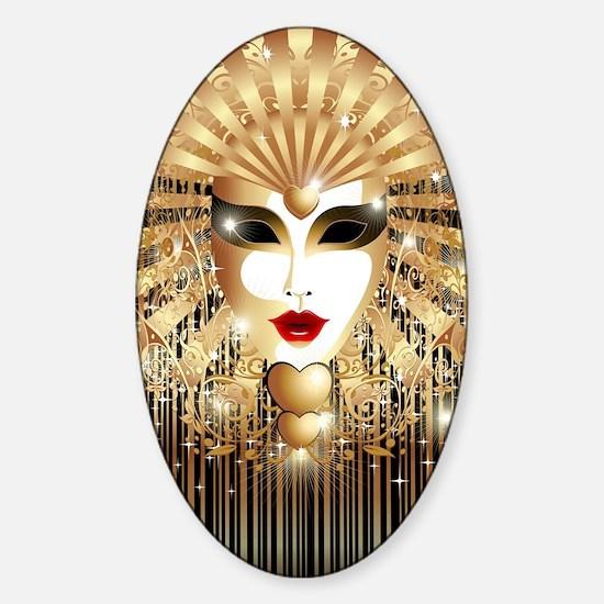 Golden Venice Carnival Mask Sticker (Oval)