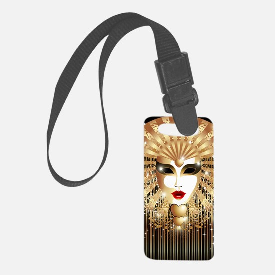 Golden Venice Carnival Mask Luggage Tag