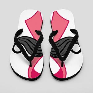 Pink Ribbon And Moustache Flip Flops