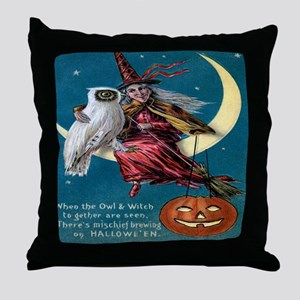 Vintage Halloween - Owl and Witch Throw Pillow