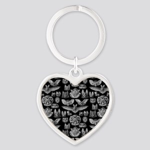 Vintage Bat Illustrations Heart Keychain